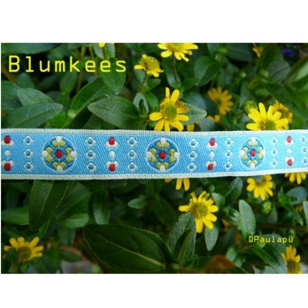 Farbenmix - Blumkees himmelblau, Webband