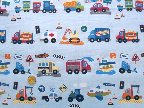 Hilco - Baumwolldruck Traffic Kids, hellblau, Reststück 60cm