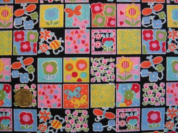 Hilco - Baumwolldruck Spring Patch, schwarz-bunt
