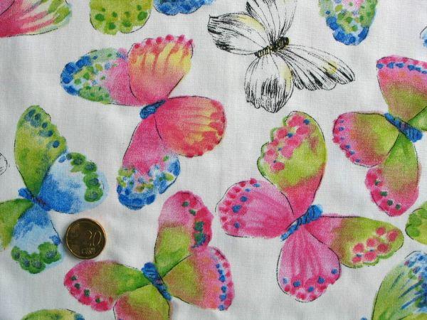 Hilco - Baumwollpopeline Big Butterfly, weiß, Rest 72cm