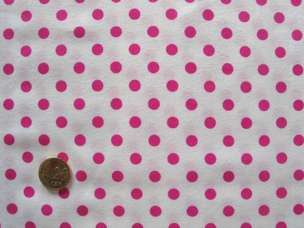Hilco - Punkte Baumwollpopeline Topas, weiß-pink
