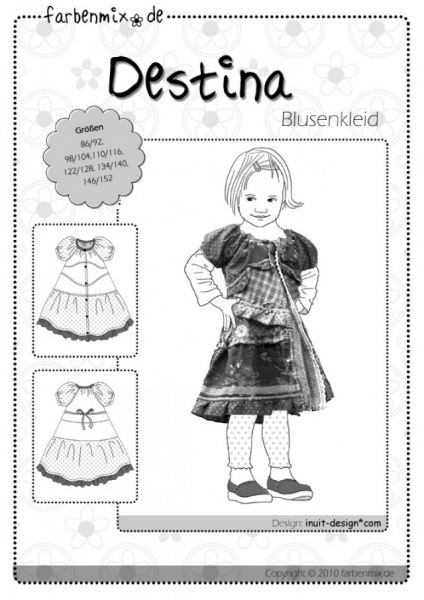 Farbenmix - DESTINA Blusenkleid, Schnittmuster