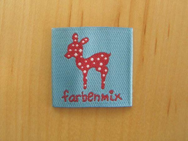 Farbenmix - Etikett mit Reh, hellblau-rot