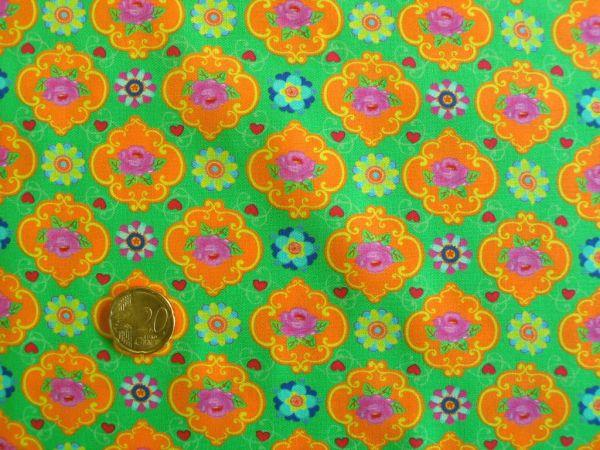 Hilco - Hilde Blumendruck, apfelgrün-orange