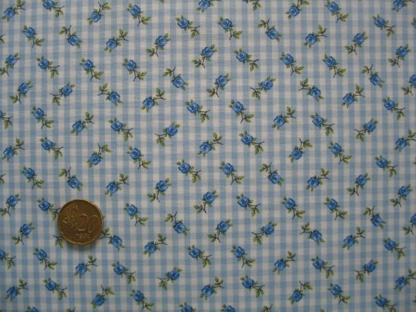 Hilco - Hilde Vichy-Karo mit Rosendruck, hellblau-weiß