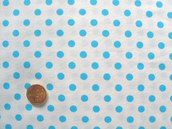 Hilco - Punkte Baumwollpopeline Topas, weiß-türkisblau