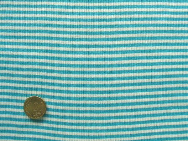 Hilco - Ringelbündchen, türkisblau-weiß