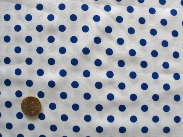 Hilco - Punkte Baumwollpopeline Topas, weiß-jeansblau