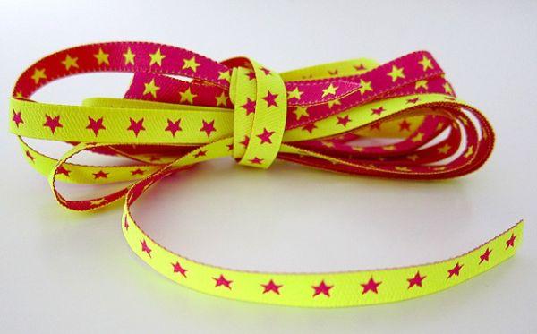 Farbenmix - Schmales Sternchenband, neongelb-pink