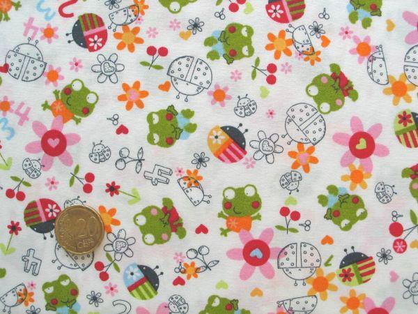 Hilco - Baumwollpopeline Jumpy Frog, weiß-grün