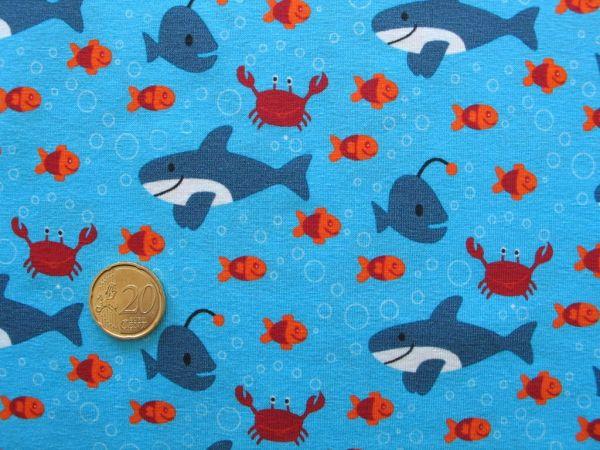 JaTiJu - Stretchjersey Fische, hellblau