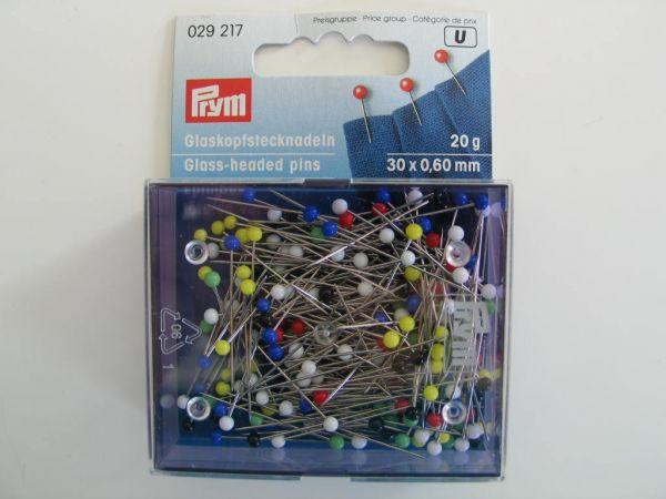 Prym - Glaskopfstecknadeln 30x0,60mm, bunt 20g