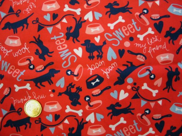 Hamburger Liebe - Baumwollpopeline Woof Woof, rot-blau