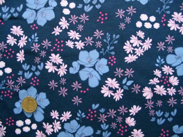 Hilco - Stretch-Sweat Girly Flower, dunkelblau