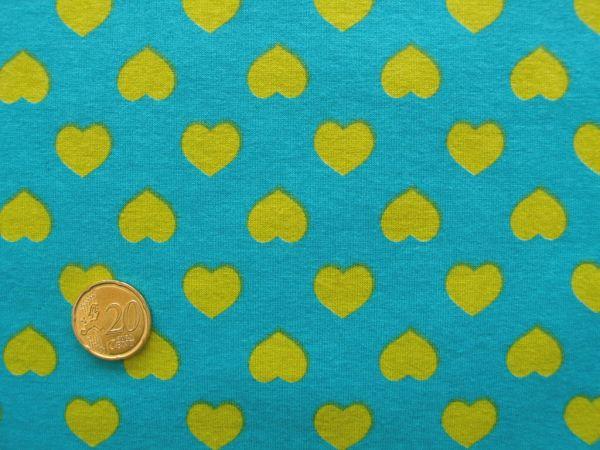 Hilco - Stretch-Jersey Coracao, petrol-gelb, Reststück 90cm