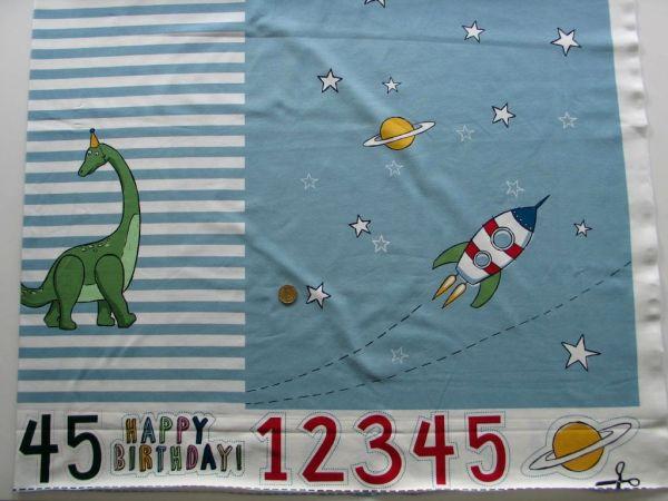 Hilco - Stretch-Jersey Panel Happy Birthday Boy, blau