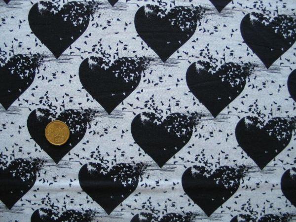 Hilco - Stretch-Sweat Lost Heart, grau-schwarz
