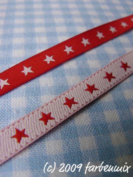 Farbenmix - Schmales Sternchenband, rot-weiß