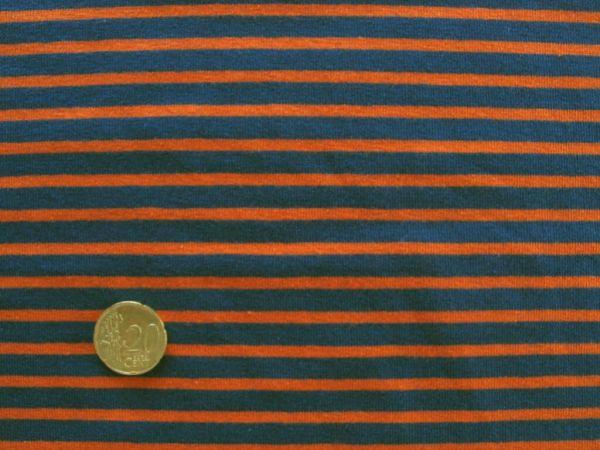 Hilco - Streifenjersey Campan, blau-orange, Reststück 22cm