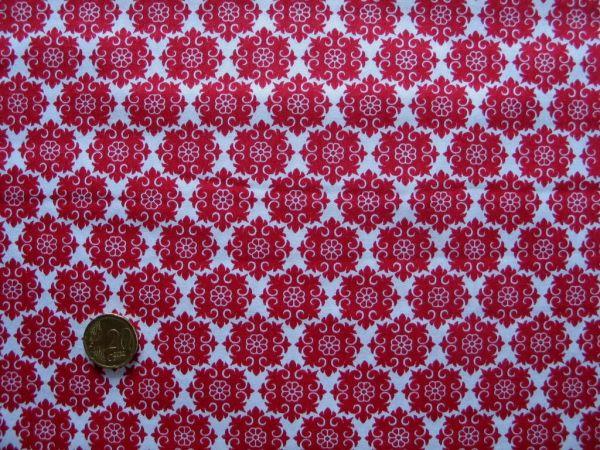 Hilco - Hilde Ornamentdruck, weiß-tomatenrot, Rest 107cm