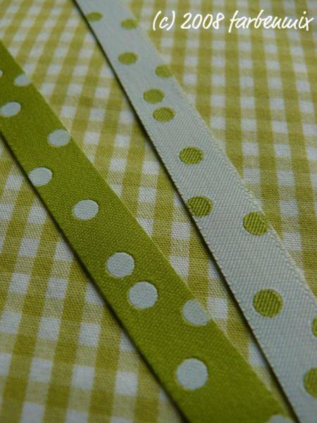 Farbenmix - Punkteband, lime-weiß