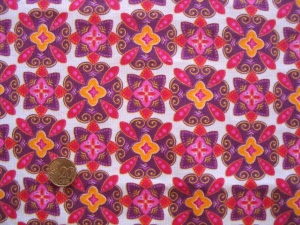 Hilco - Feincord Blumendruck Piruetas, pink-gelb