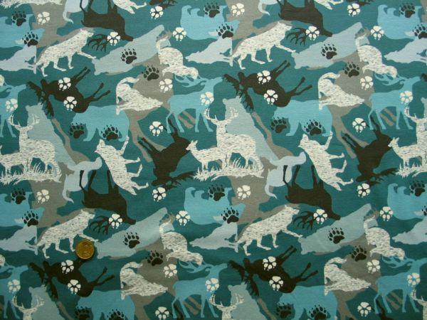 Hilco - Stretch-Sweat Canadian Wildlife, blau