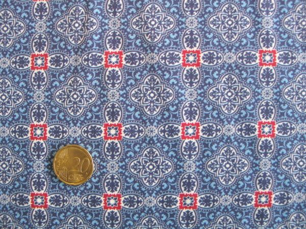 Hilco - Hilde Ornamentdruck, blau, Reststück 97cm