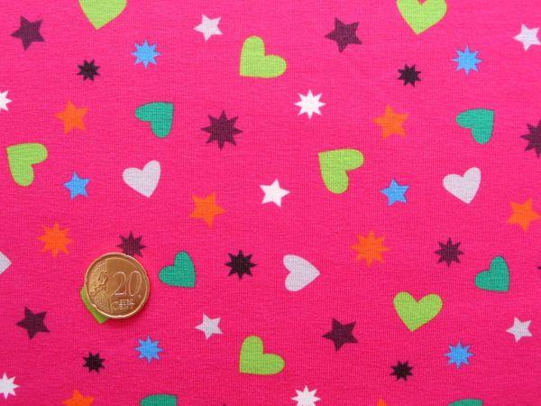 Hilco - Stretch-Jersey Hearty Stars, pink, Reststück 41cm