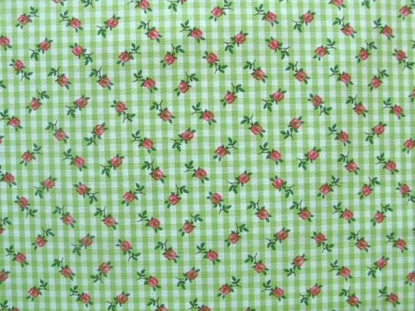 Hilco - Hilde Vichy-Karo mit Rosendruck, lindgrün-weiß