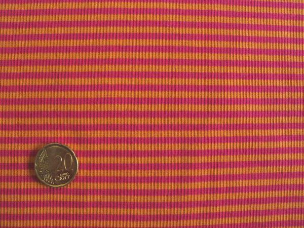Hilco - Ringelbündchen, pink-orange, Stoffstück