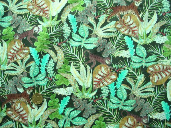 Hilco - Stretch-Jersey Wild Life, grün