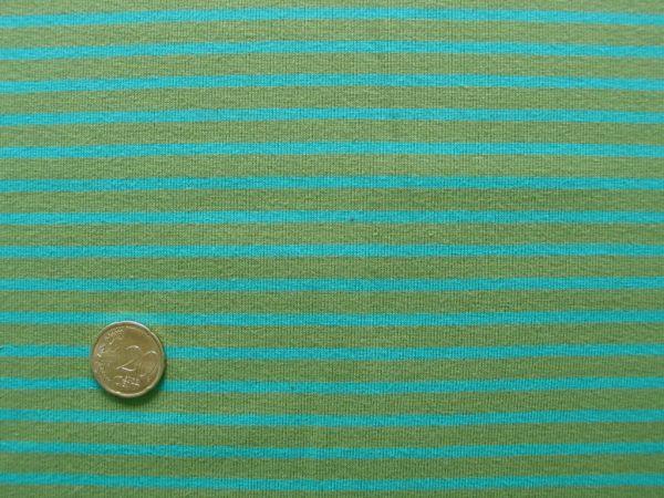 Hilco - Streifenjersey Campan, gelbgrün-türkisgrün, Rest 60cm