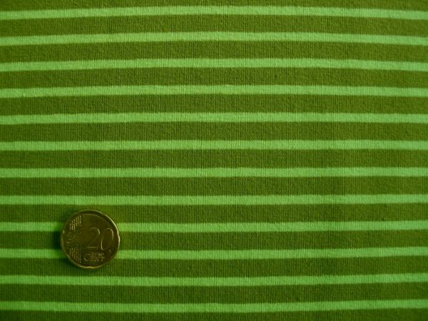 Hilco - Streifenjersey Campan, hellgrün-oliv, Reststück 55cm