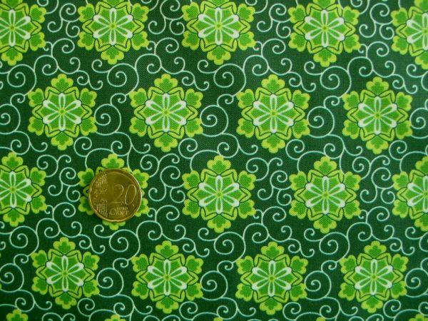 Hilco - Hilde Baumwolldruck, grün, Reststück 62cm