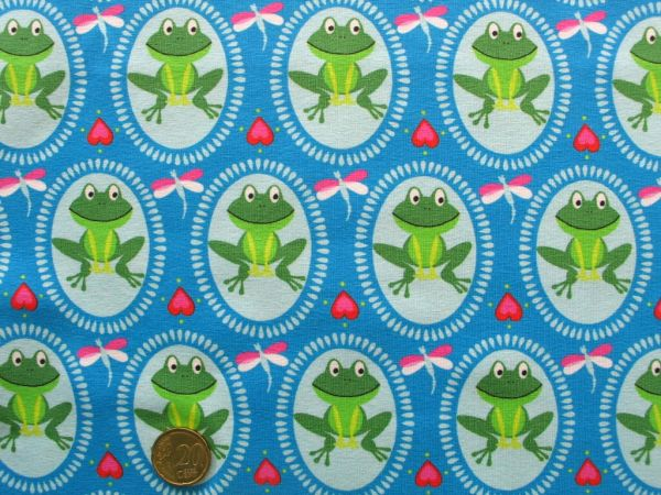 Hilco - Stretch-Jersey Froggy, blau