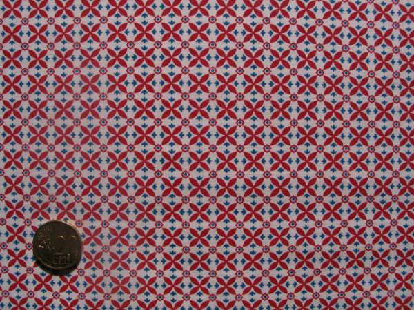 Hilco - Hilde Ornamentdruck mit Mini Blümchen, rot-weiß-blau