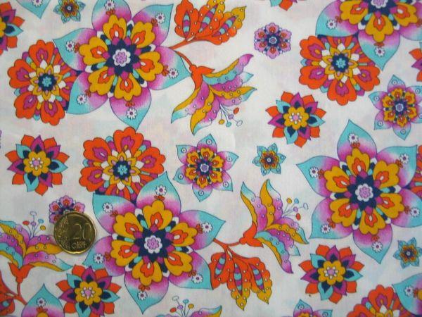 Hilco - Baumwollpopeline Retro Flowers, orange