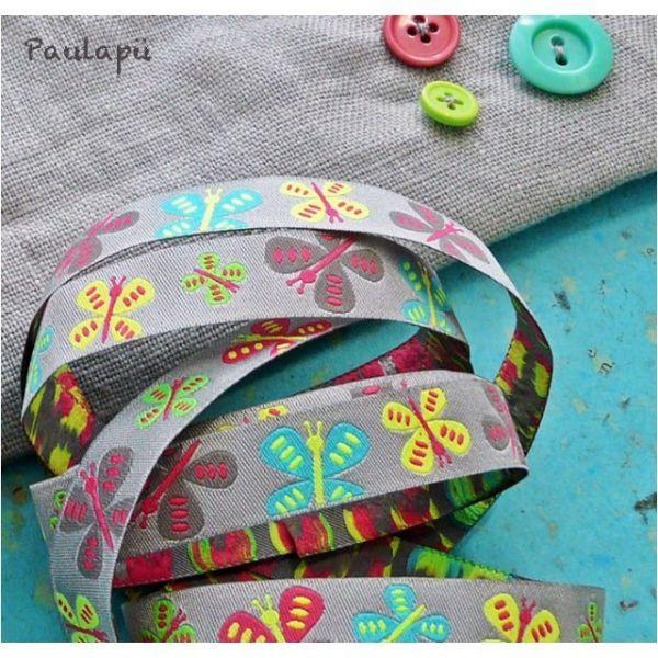 Farbenmix - Flatterlis Webband, grau und neon