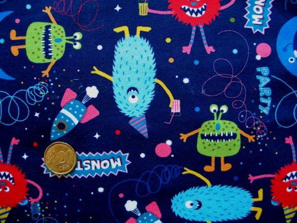 Hilco - Stretch-Sweat Monster Party, blau, Reststück 82cm