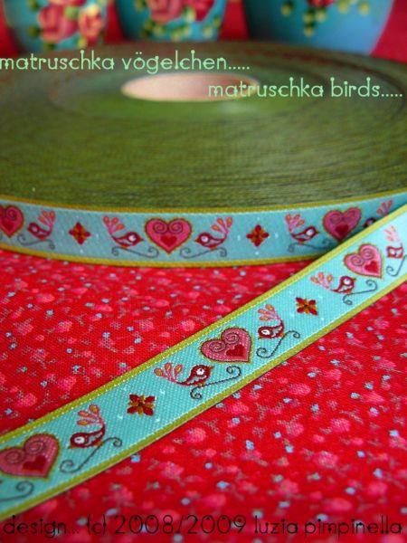Farbenmix - Vögelchen-Webband, türkis