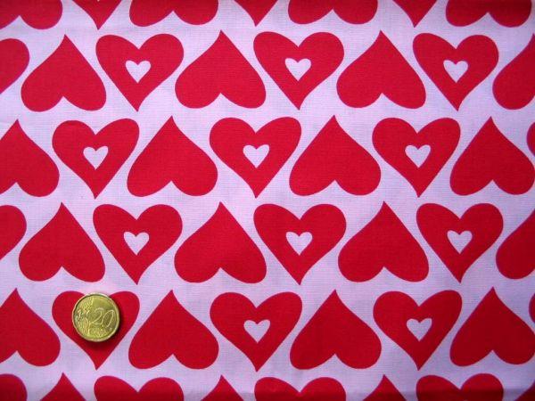 Hilco - Baumwollpopeline Pop Hearts, rosa-rot, Rest 54cm