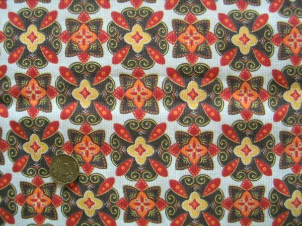 Hilco - Feincord Blumendruck Piruetas, orange-gelb, Rest 56cm
