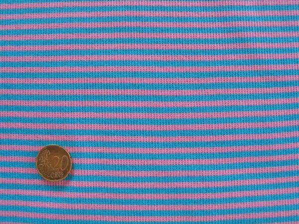 Hilco - Ringelbündchen, türkisblau-babyrosa, Stoffstück