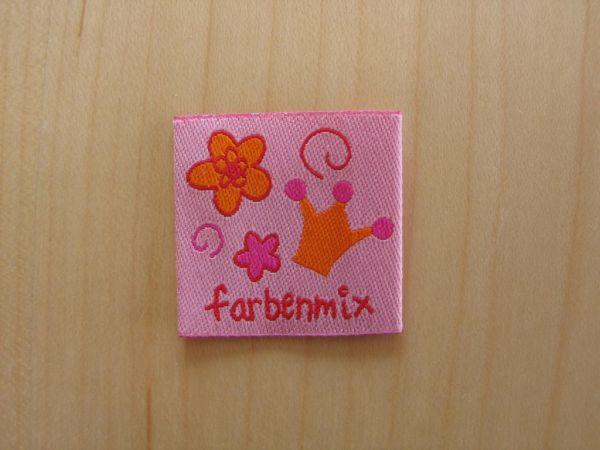 Farbenmix - Etikett mit Krone und Blumen, rosa