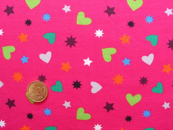 Hilco - Stretch-Jersey Hearty Stars, pink