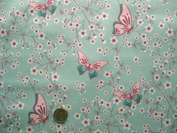 Hilco - Baumwollpopeline Cherry Blossom, hellblau Rest 49cm