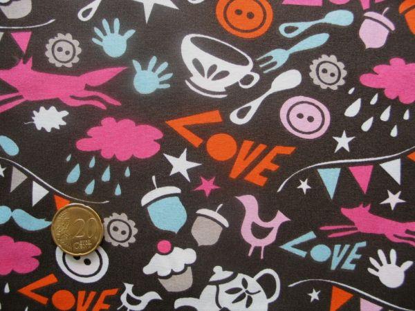 Hamburger Liebe - Baumwoll Popeline Lovely Things, schoko-pink