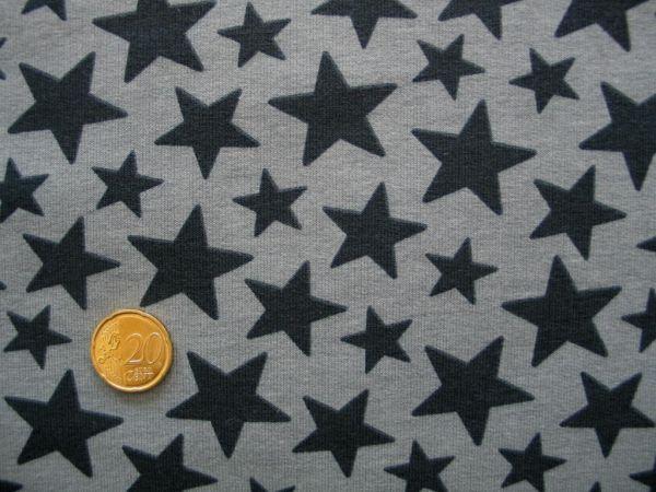 Hilco - Stretch-Sweat Star Kid, grau, Reststück 30cm