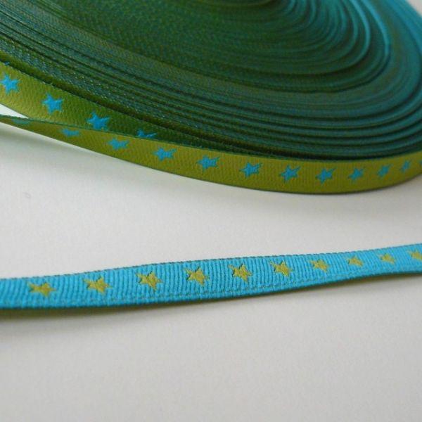 Farbenmix - Schmales Sternchenband, grün-türkis